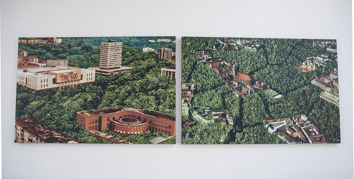 Due stampe digitali su tela che propongono vedute delle città di Monaco e Tirana, ricoperte dal verde
