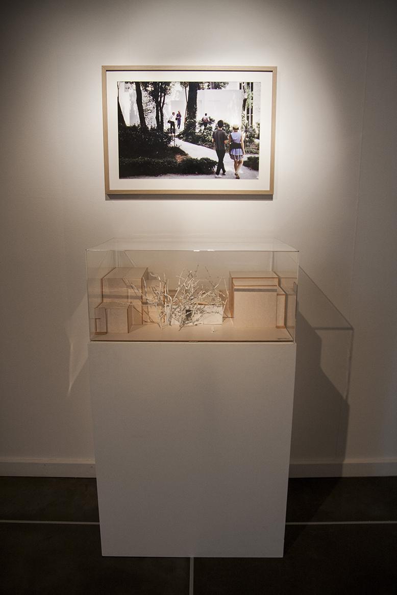 Immagine di un modellino in plastica sotto teca, con immagine della realizzazione a parete