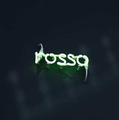 """Immagine di un neon verde che rappresenta la parola """"rosso"""""""